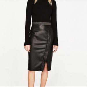 Zara basic leather skirt Brand NWOT❤️